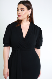 Black Puff Sleeves Ruffled Hem Midi Dress Plus Sizes