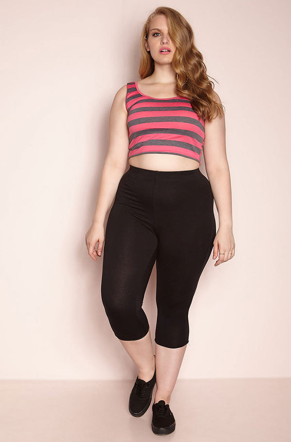 Black Cropped Leggings Plus Sizes