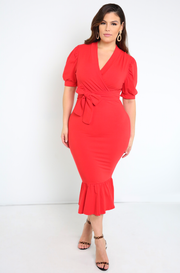 "Rebdolls ""It's Possible"" Puff Sleeves Ruffled Hem Midi Dress"
