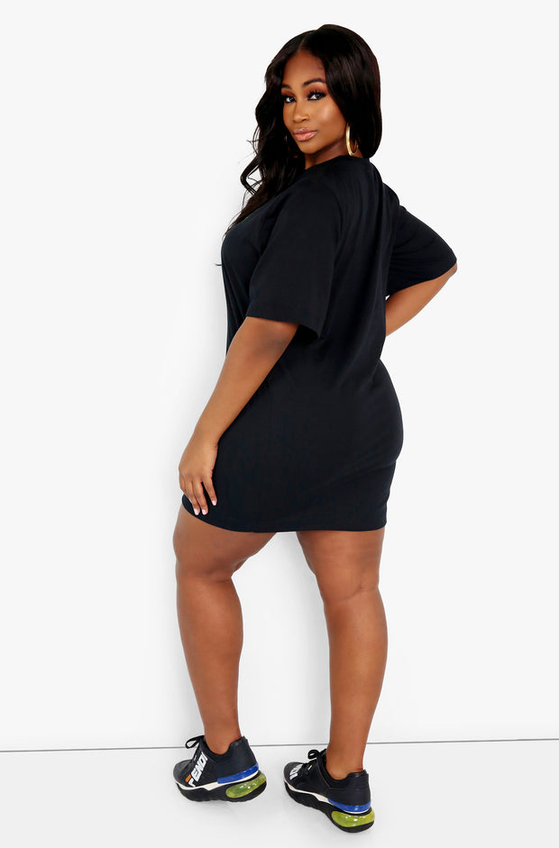 "Rebdolls ""Not Wearing Any Pants"" Oversized Graphic T-Shirt Dress"