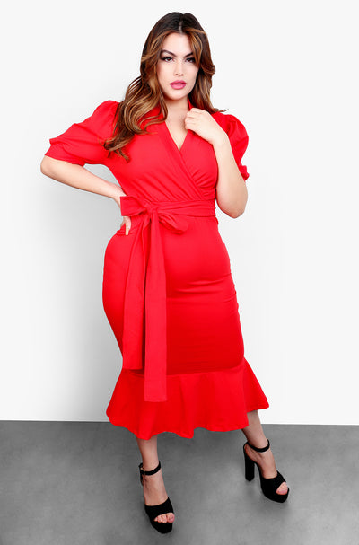 Red Puff Sleeves Ruffled Hem Midi Dress