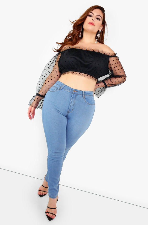 Black Polka Dot Ruffle Crop Top Plus Sizes