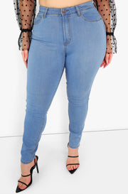 Blue High Waist Skinny Jeans Plus Sizes