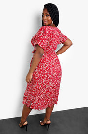 Red Floral Print A-Line Wrap Midi Dress Plus Sizes