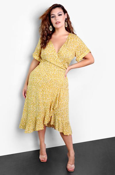 Yellow Floral Print A-Line Wrap Midi Dress Plus Sizes