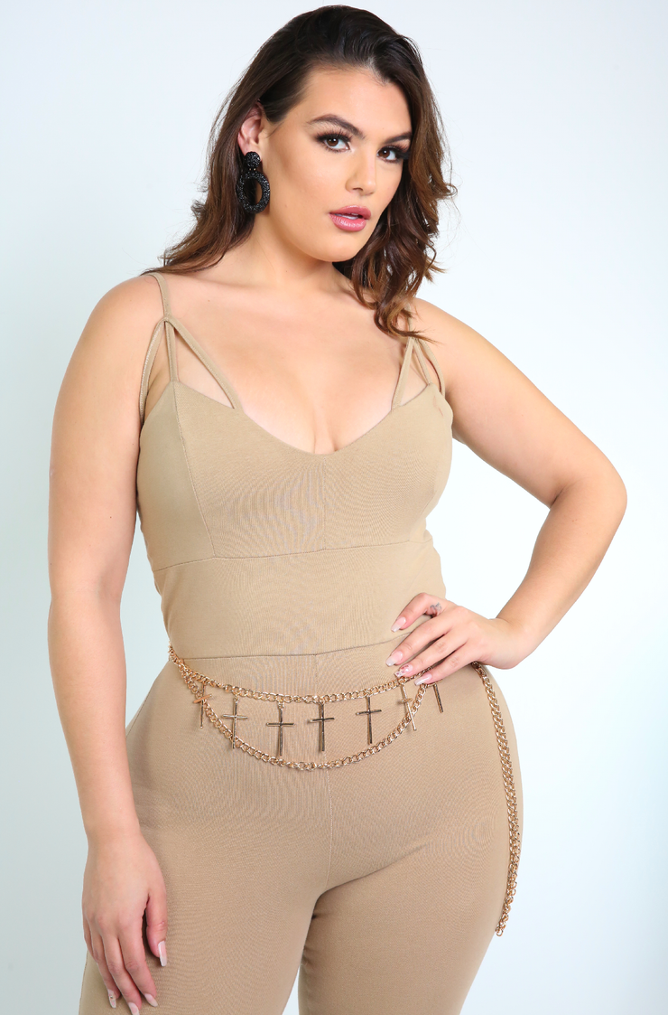 Nude Caged Jumpsuit Plus Sizes