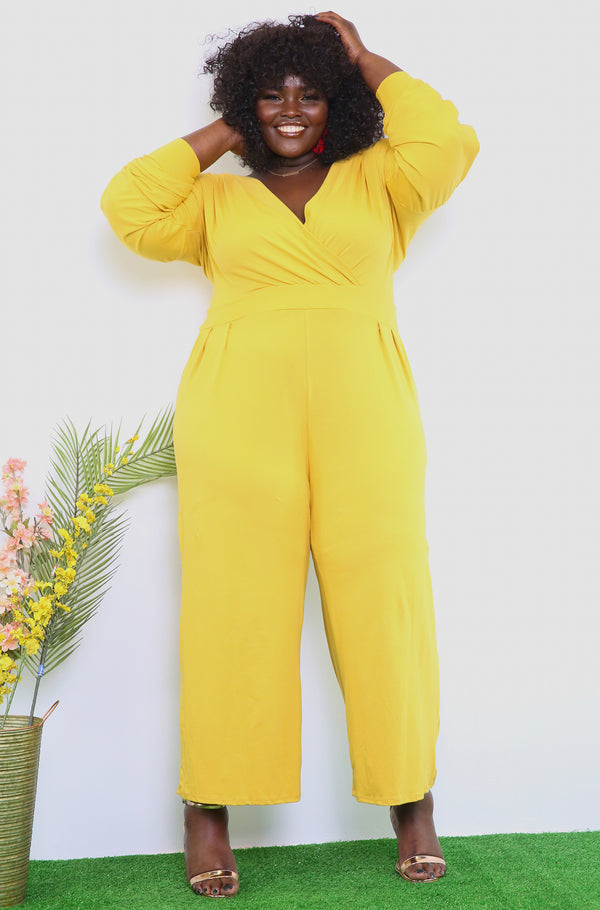 Mustard Over The Shoulder Wide Leg Cropped Jumpsuit Plus Sizes