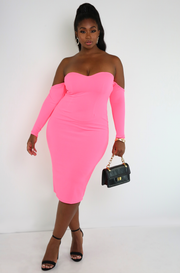 "Rebdolls ""Just A lil' Bit"" Sweetheart Neckline Bodycon Midi Dress"