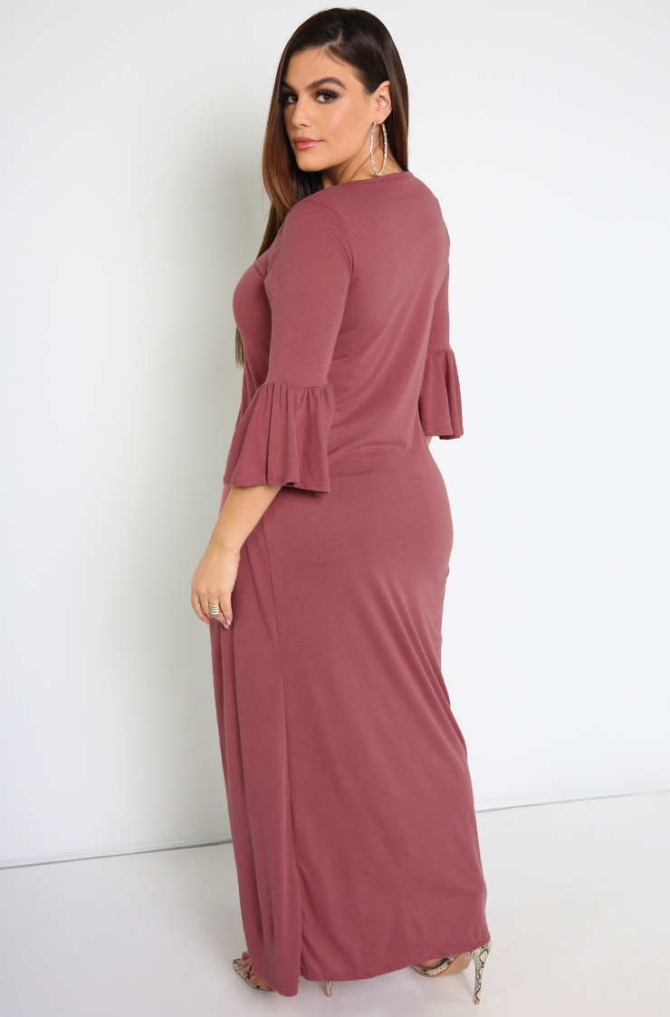 Brick Dust Ruffled Sleeve Maxi Top Plus Sizes