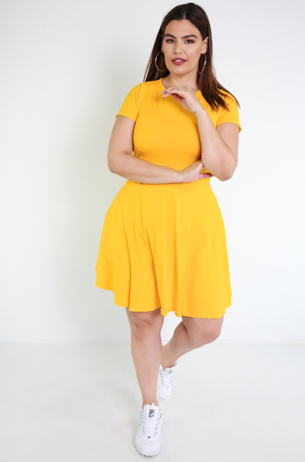 Golden Yellow Skater Mini Dress With Pockets Plus Sizes
