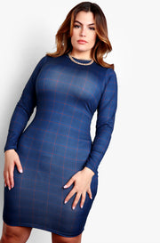 Navy Blue Crewneck Long Sleeve Bodycon Mini Dress Plus Size Mini Dress