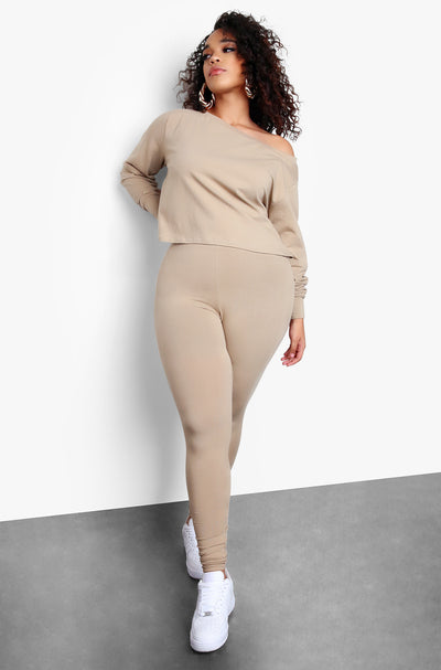 Nude Plus Size Long Sleeve Cropped Top & Matching High Waisted Leggings Set