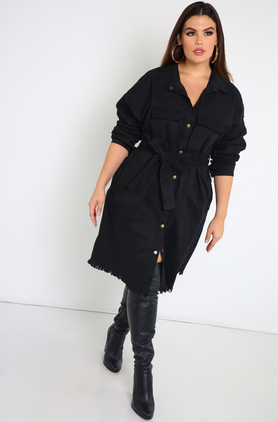 Black Cargo Stretch Denim Dress Plus Sizes