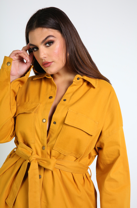Mustard Cargo Stretch Denim Dress Plus Sizes