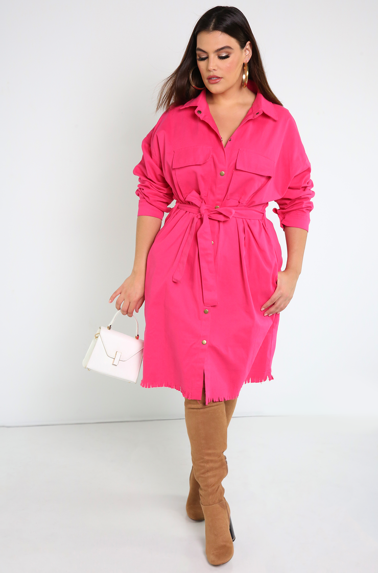 Magenta Cargo Stretch Denim Dress Plus Sizes