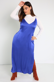 Royal Blue Satin Slip Maxi Dress