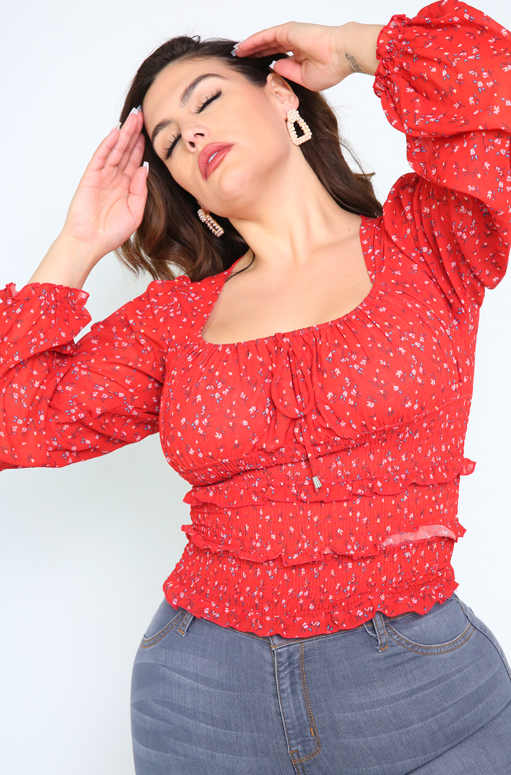 Red Smocked Peasant Top Plus Size