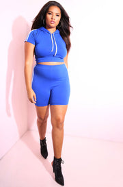 Royal Blue Caped Crop Top plus sizes