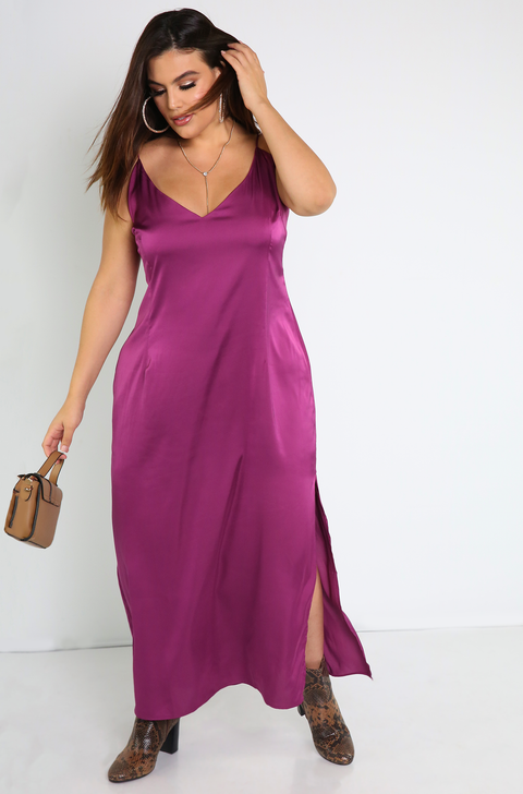 Purple Satin Slip Maxi Dress