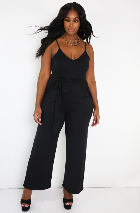 Black  V-Neck Wide Leg Jumpsuit With Pockets Plus Sizes
