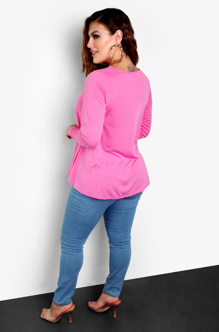 Pink Keyhole Light-Weight Top Plus Size