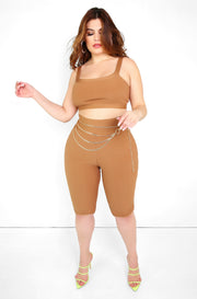 Mocha Ribbed Crop Top Plus Sizes