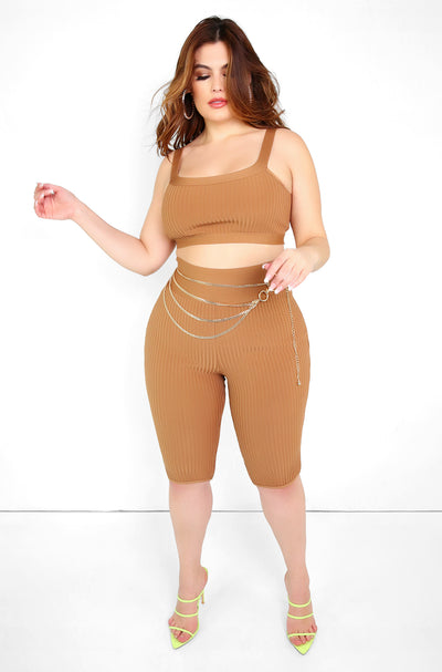 Mocha Ribbed Bermuda Pants Plus Sizes
