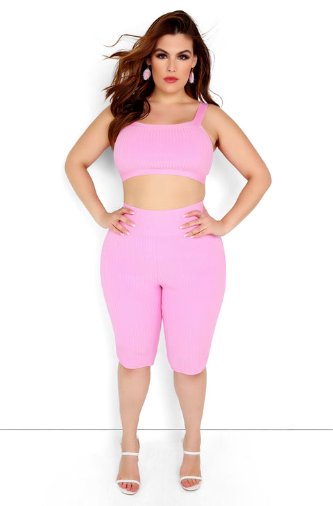 Pink Ribbed Crop Top Plus Sizes