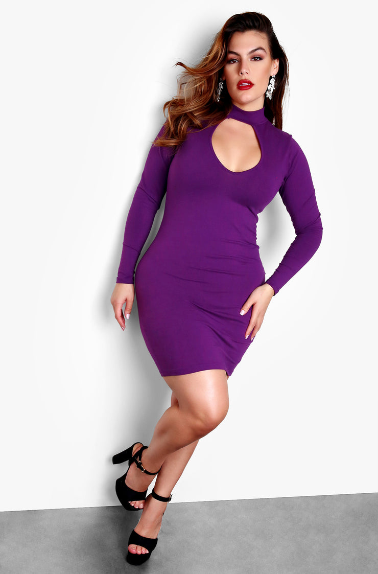Purple Plus Size Key Hole Cut Out Long Sleeve Bodycon Mini Dress