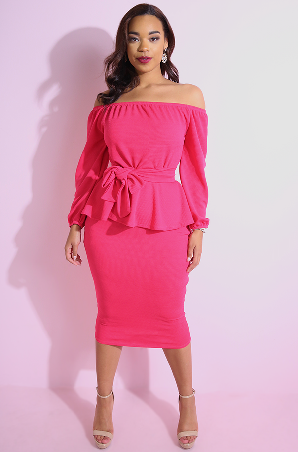 "Rebdolls ""Kind Of Way"" Peplum Ponte Bodycon Midi Dress"