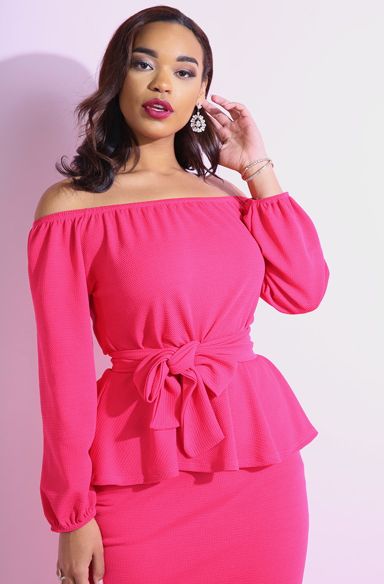 "Rebdolls ""Kind Of Way"" Peplum Ponte Bodycon Midi Dress- FINAL SALE"