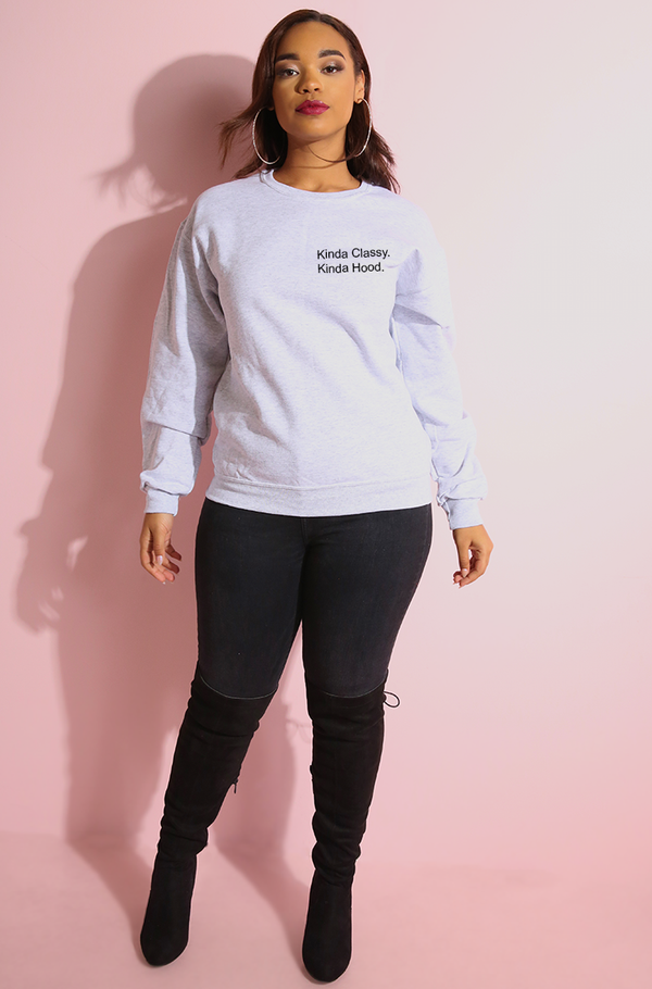 Heather gray sweatshirt plus sizes