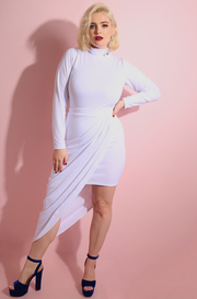 White Draped Bodycon Midi Skirt plus sizes
