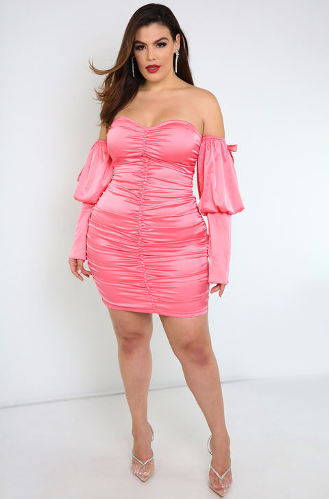 Coral Pink Puff Sleeve Ruched Bodycon Mini Dress