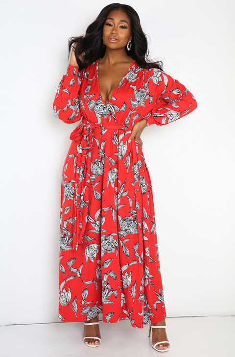 Red Belted Maxi Dress Plus Sizes