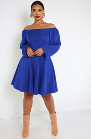 Royal Blue Over The Shoulder Skater Mini Dress Plus Sizes