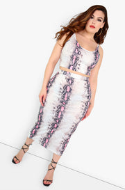 Pink Snake Print Bodycon Maxi Skirt Plus Sizes