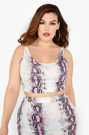 Pink Snake Print Crop Top Plus Sizes