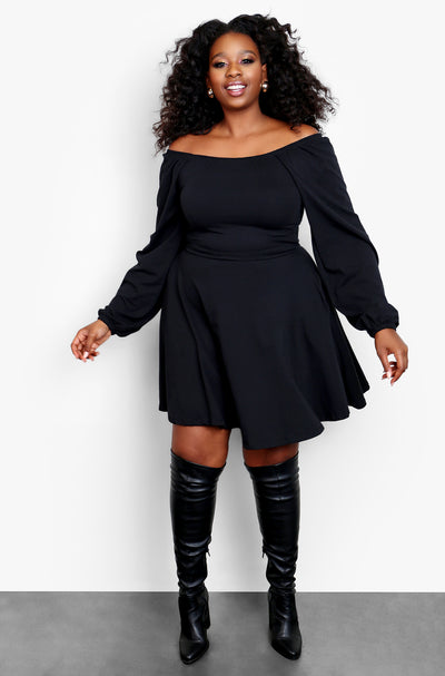 Black Over The Shoulder Skater Mini Dress