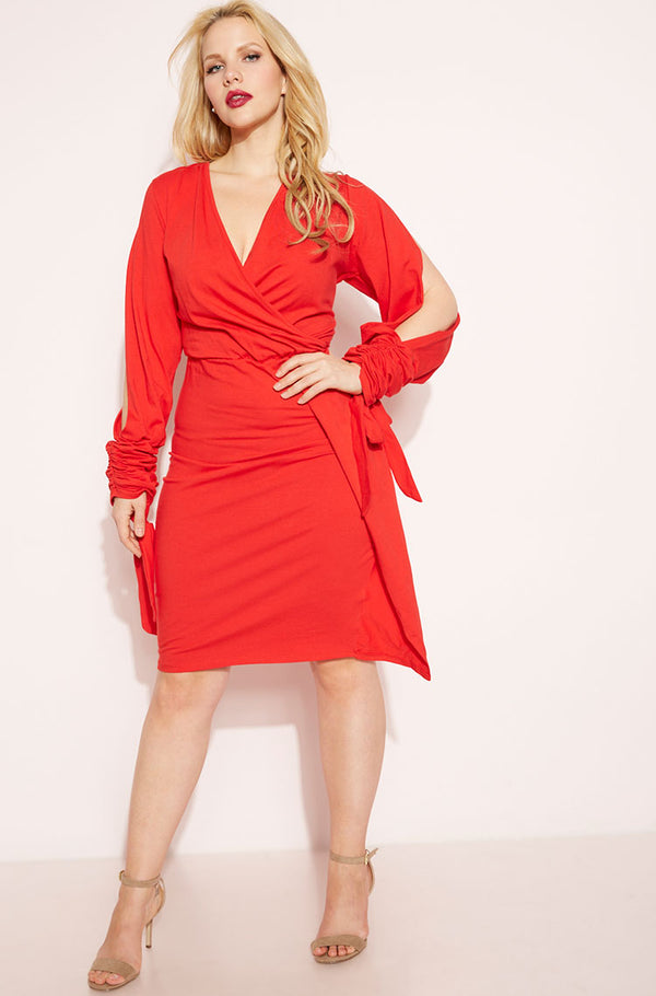 Red Bell Ruched Bodycon Mini Dress plus sizes