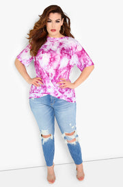 Purple Tie Dye Top Plus Sizes