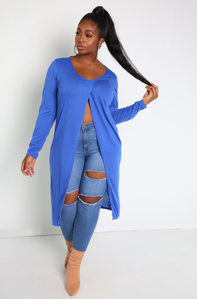 Royal Blue Crossover Long Top Plus Sizes