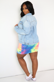 Blue Distressed Denim Jacket Plus Sizes