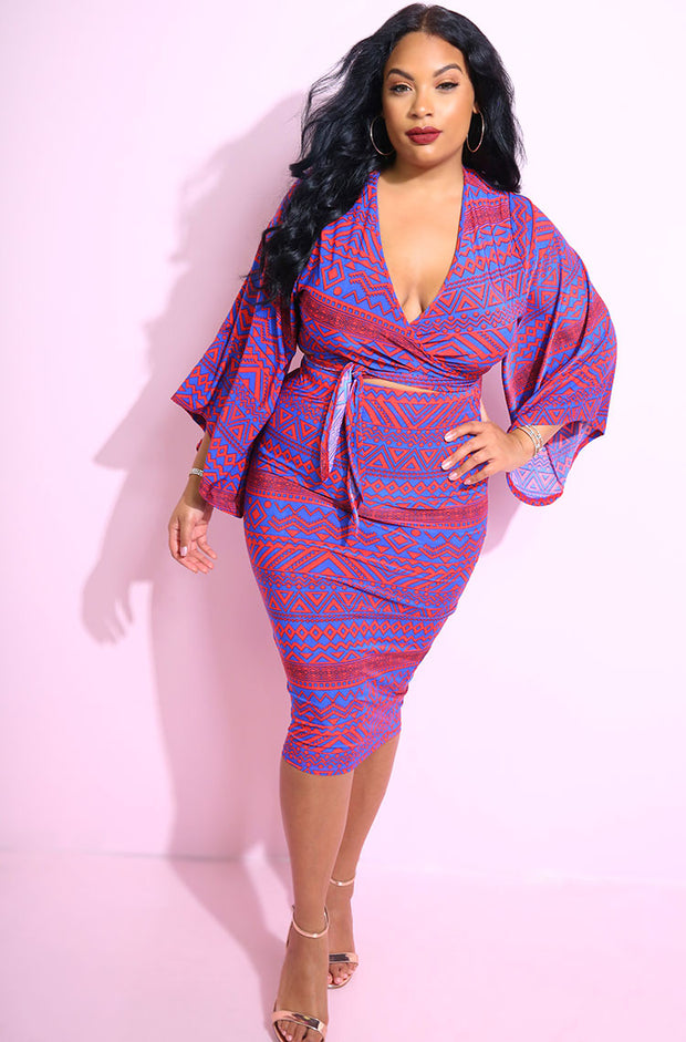 Red Aztec print kimono sleeve wrap top plus sizes