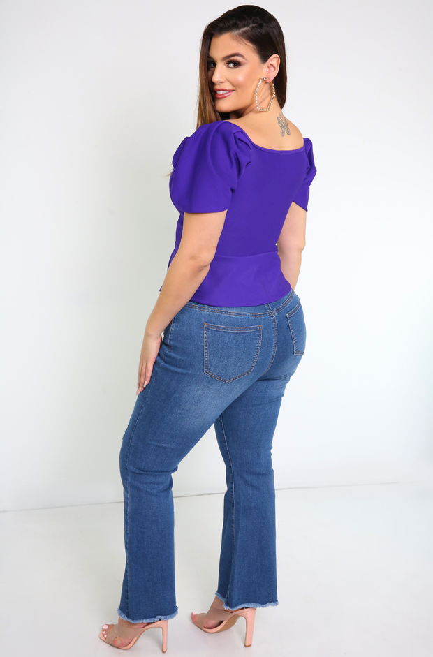 Purple Puff Sleeve Crop Top Plus Sizes