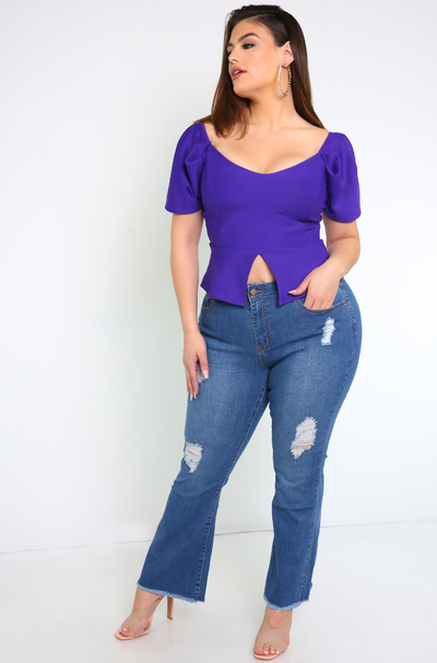 Blue Jeans Ripped Boot Cut  Jeans Plus Sizes