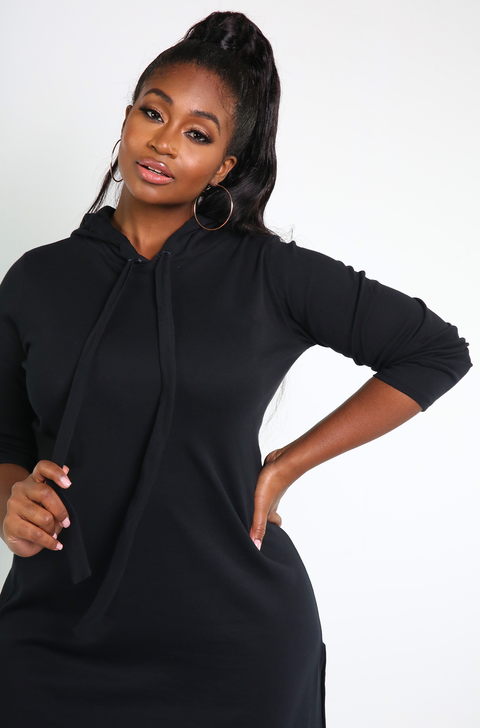 Black High Slit Hooded Dress Plus Sizes