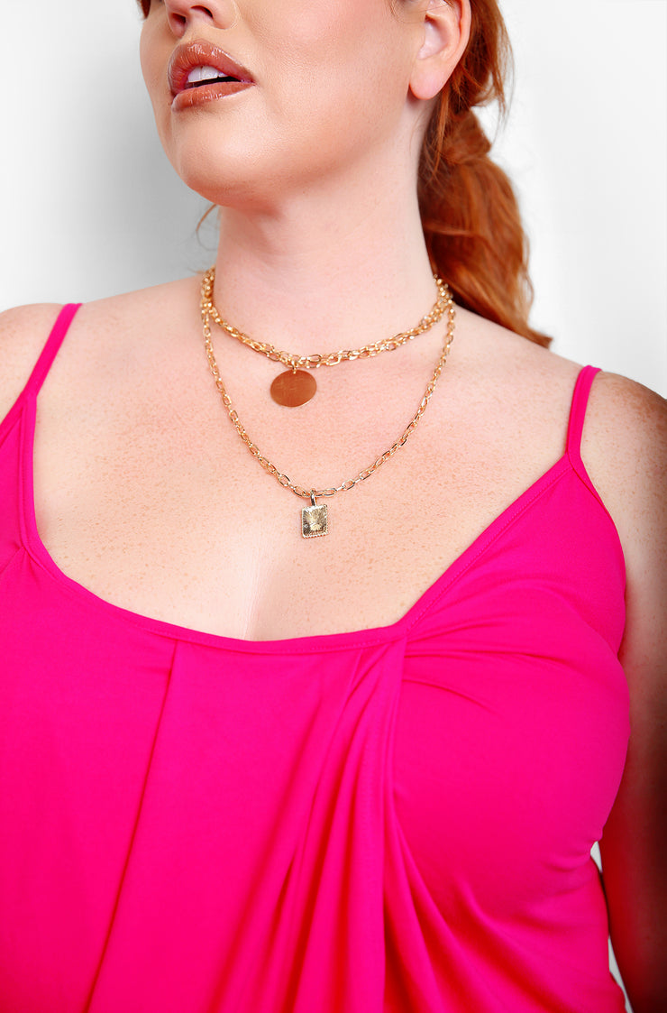 Gold Double Layered Pendant Necklace