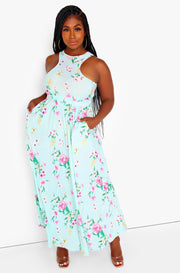 Light Blue Floral Razor Front Skater Maxi Dress w. Pockets