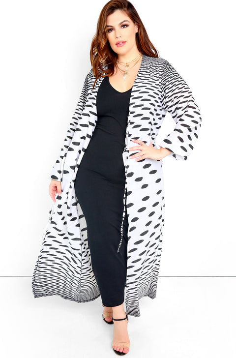 White Long Sleeve Maxi Kimono Plus Sizes